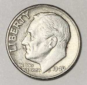 1949 ROOSEVELT DIME 10 CENT 0.900 SILVER CIRCULATED COIN  3325