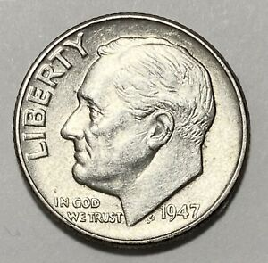 1947 ROOSEVELT DIME 10 CENT 0.900 SILVER CIRCULATED COIN  3328