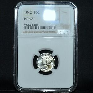 1942 P PROOF MERCURY DIME  NGC PF 67  10C SILVER PR  NOW CHOICE TRUSTED