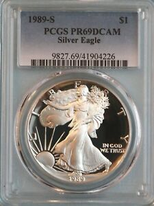 1989 S SILVER EAGLE PCGS PR69DCAM   ASE   4TH YEAR OF ISSUE