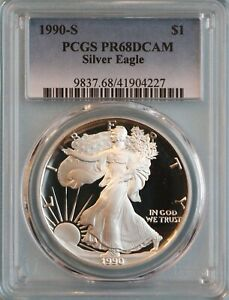 1990 S SILVER EAGLE PCGS PR68DCAM   ASE   5TH YEAR OF ISSUE