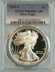 1993 P SILVER EAGLE PCGS PR68DCAM   ASE   8TH YEAR OF ISSUE
