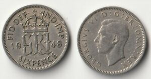 1948 GREAT BRITAIN SIXPENCE COIN