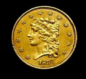 1834 $2.5 CLASSIC HEAD QUARTER EAGLE STUNNING US GOLD COIN FIRST YEAR ISSUE