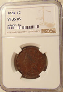 1824 LARGE CENT   NGC VF35   N 2   SHARP LOOKING BROWN COIN