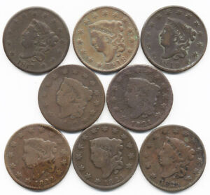 1817 1825 8 DIFFERENT CORONET HEAD US LARGE CENTS