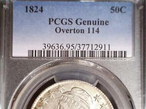 1824 CAPPED BUST HALF DOLLAR PCGS CERTIFIED O 114 R.5  CIRCULATED BUS. STRIKE