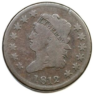 1812 S 288 R 2 LG DATE CLASSIC HEAD LARGE CENT COIN 1C