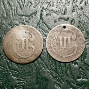 2  CULL THREE CENT SILVER COINS 1851 1862 NO DATE LOW GRADE FILLER FOR TYPE SET
