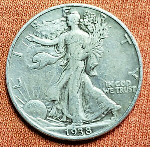1938 D LIBERTY WALKING HALF DOLLAR    90  SILVER