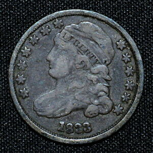 1833 CAPPED BUST DIME  VF FINE  10C  NOW  DATE H506 TRUSTED