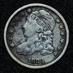 1834 CAPPED BUST DIME  VF FINE  10C  NOW LARGE 4 H508 TRUSTED