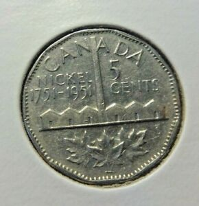 CANADA  5 CENTS  1951