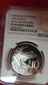 Click now to see the BUY IT NOW Price! 1986 FIJIAN GROUND FROG SILVER COIN NGC PR69 WORLD WILDLIFE FUND WWF
