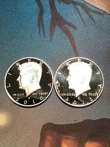 2010 S 2012 S SILVER PROOF KENNEDY HALF DOLLARS 2 COINS TOUGH DATES BEAUTIFUL
