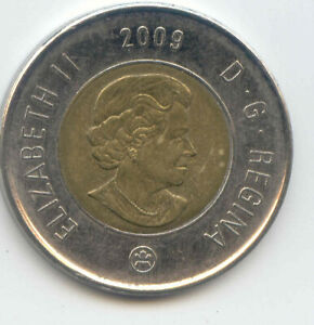 CANADA 2009 TOONIE CANADIAN $2 DOLLARS TWONEY TOONY TWO DOLLAR EXACT COIN