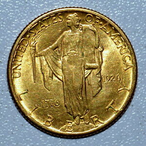1926 GOLD $2.50 SESQUICENTENNIAL  UNCIRCULATED UNC  BU 1776 2 1/2 TRUSTED