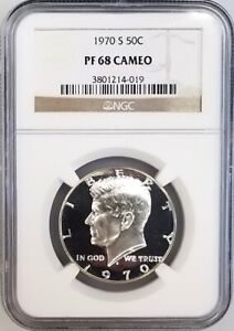 1970 S PROOF KENNEDY HALF DOLLAR GRADED PF 68 CAMEO BY NGC