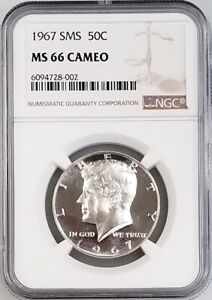 1967 SMS KENNEDY HALF DOLLAR CERTIFIED MS 66 CAMEO BY NGC