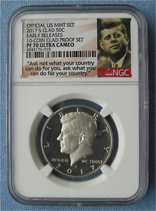2017 S CLAD PROOF KENNEDY HALF DOLLAR   NGC PF 70 ULTRA CAMEO ER 10 COIN SET 50C