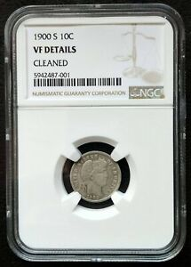 1900 S BARBER SILVER DIME NGC VF DETAILS CLEANED