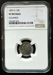 1897 S BARBER SILVER DIME NGC VF DETAILS CLEANED.