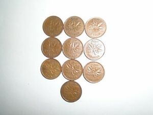 1950   1959   DATE RANGE   CANADIAN SMALL 1 CENT COINS   LOT OF 10 COPPER