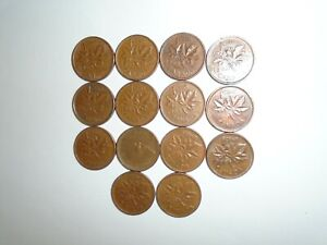 1960   1969   DATE RANGE  98   COPPER  CANADIAN SMALL 1 CENT COINS   LOT OF  14