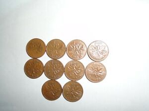 1970   1979   DATE RANGE  98    CANADIAN COPPER SMALL 1 CENT COINS   LOT OF  10
