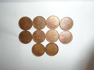 1980   1989   DATE RANGE  98    CANADIAN COPPER  SMALL 1 CENT COINS   LOT OF  10