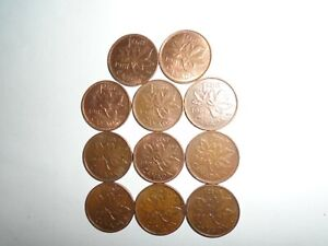 1981  CANADIAN COPPER SMALL 1 CENT COINS  98   COPPER  LOT OF  11