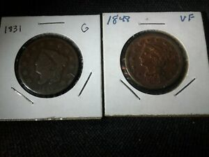 1831 & 1848 CORONET HEAD & BRAIDED HAIR LARGE CENT. SHIPPED W USPS FIRST CLASS