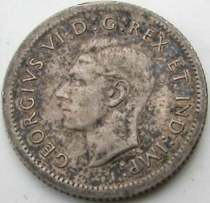 1939 CANADA 10 CENTS SILVER  TEN CENTS 10C  IN A SAFLIP   FINE   VG