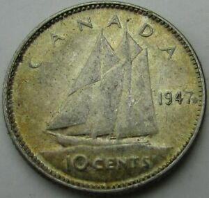 1947 CANADA 10 CENTS SILVER  TEN CENTS 10C  IN A SAFLIP   MAPLE LEAF   XF