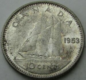 1953 CANADA 10 CENTS SILVER  TEN CENTS 10C  IN A SAFLIP   WITHOUT STRAPS   AU