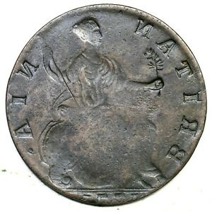 1771 GEORGE III REVERSE BROCKAGE BRITISH IMITATION COLONIAL COPPER COIN 1/2P