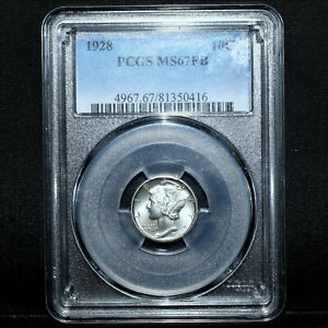 Click now to see the BUY IT NOW Price! 1928 P MERCURY DIME  PCGS MS 67 FB  10C SILVER FULL SPLIT BANDS GEM TRUSTED