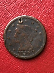 1844 BRAIDED HAIR LARGE CENT HOLED WE COMBINE ON SHIPPING