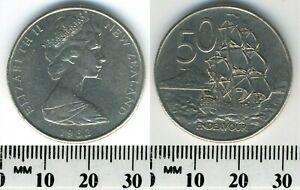NEW ZEALAND 1982   50 CENTS COPPER NICKEL COIN   ELIZABETH II   H.M.S. ENDEAVOUR