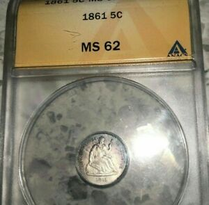 1861   OLD ANACS MS 62  SEATED LIBERTY HALF DIME   UNDERGRADED   LOOKS MS63/64 ?