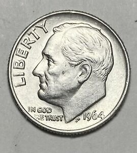 1964 ROOSEVELT DIME 10 CENTS 0.900 SILVER UNCIRCULATED COIN   3833