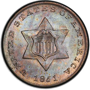 Click now to see the BUY IT NOW Price! 1851 3CS THREE CENT SILVER PCGS MS67  CAC  3326