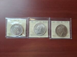 CANADA SILVER DOLLARS 1935 1937 AND 1946 ICCS CERTIFIED