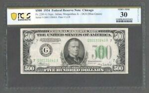 1934 $500 FEDERAL RESERVE NOTE   CHICAGO FR. 2201 G   PCGS 30 FINE   S610