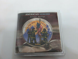 2001 AMERICAN SILVER EAGLE COLORIZED  911 HEROES 1 OZ .999 SILVER