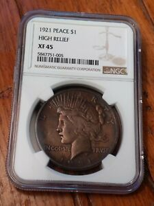 1921 PEACE DOLLAR XF45 NGC CERTIFIED BEAUTIFUL BRONZE TONING. LOOK CLOSELY & SEE