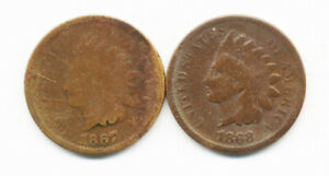 1867 & 1868 MUCH BETTER DATE BUT INEXPENSIVE INDIAN HEAD CENTS