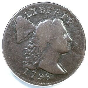 1796 S 83 R 4 ANACS F 12 DETAILS LIBERTY CAP LARGE CENT COIN 1C