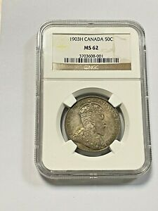 CANADA   1903H SILVER 50 CENT COIN   NGC   MS62  IN UNCIRCULATED