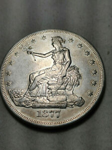 1877 S TRADE DOLLAR   AU ALMOST UNCIRCULATED WITH LITTLE WEAR ON FEATURES
